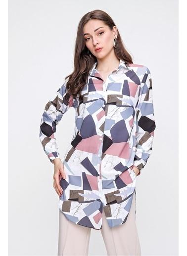 Butikburuç Kadın Haki Geometrik Desenli Tunik Antrasit
